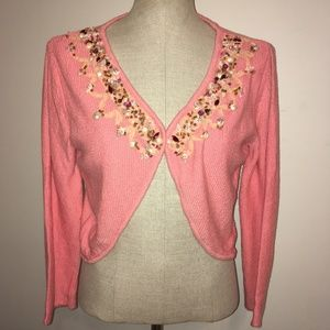 Free People Peach Shell & Rhine-stoned Front Shrug